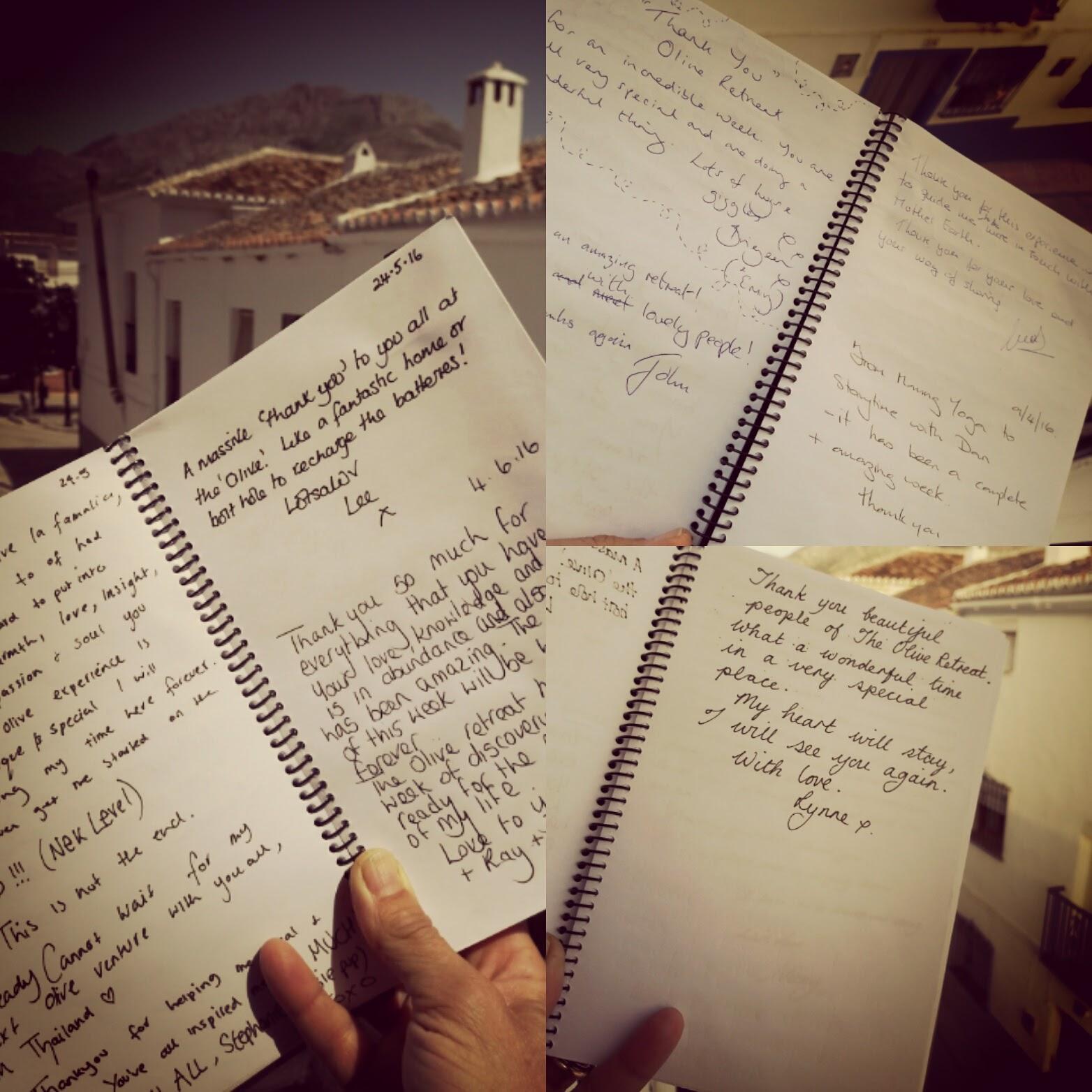 olive retreat testimonial collage hand written